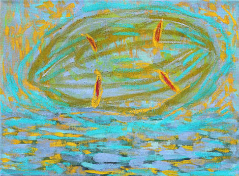 Anaphase- meiosis, oil, pastel on canvas, 40x35 cm, 2012.