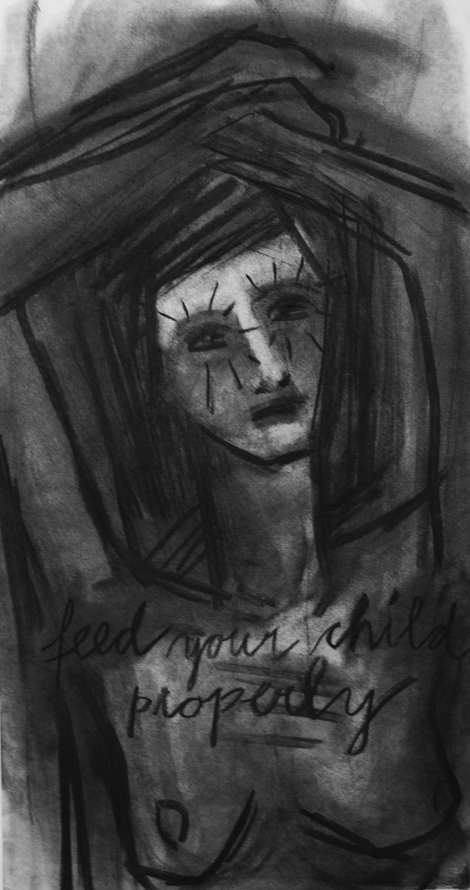 Feed your child properly, 2014, charcoal on paper, 65 x 35 cm.