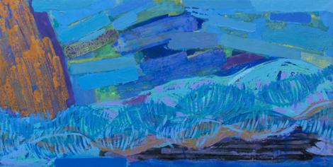 Intergalactica, 2010, mixed media on canvas, 100 x 200 cm.
