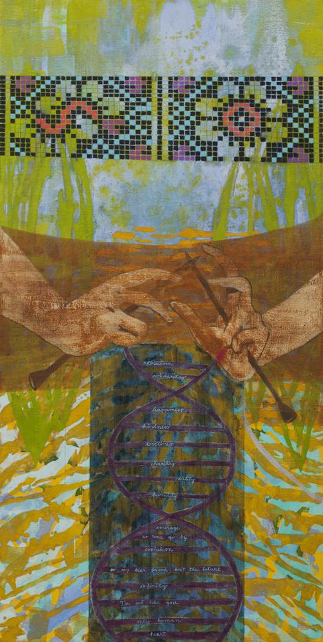 Knit the future,jajčna tempera na platno, 180x90 cm, 2013.