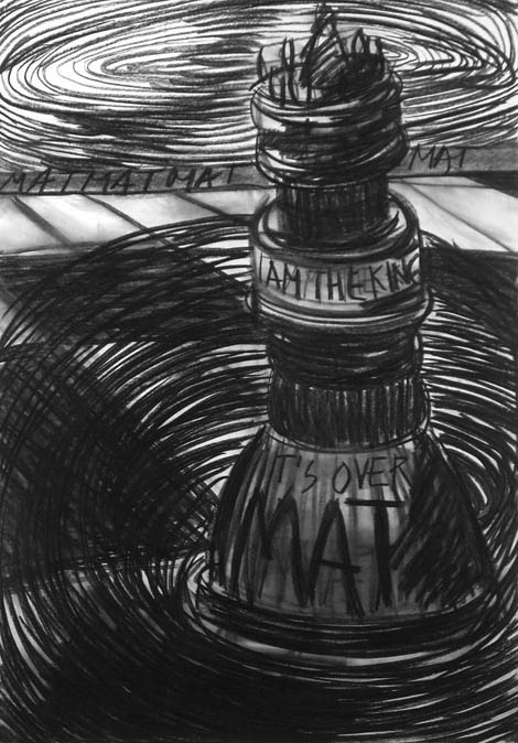 Chess mat, charcoal on paper, 100x80 cm, 2005.