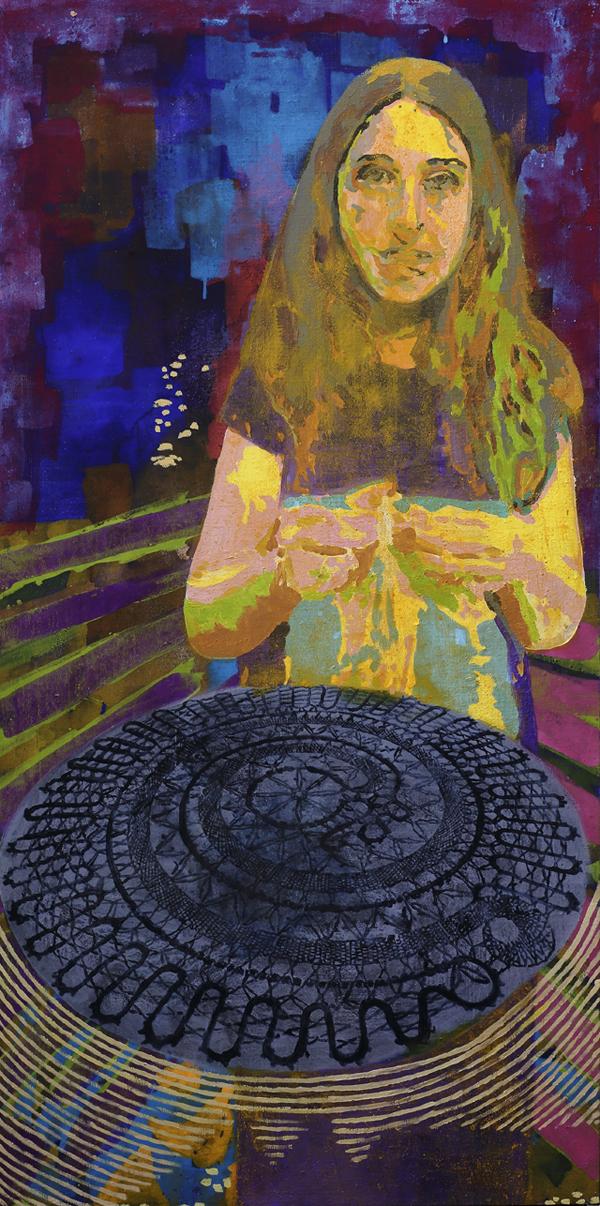 Lace the Future, 2016, egg tempera, oil on canvas, 160 x 80cm