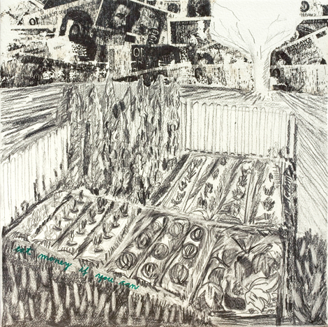 Eat money if you can, 2014, mixed media on paper, 35 x 35cm