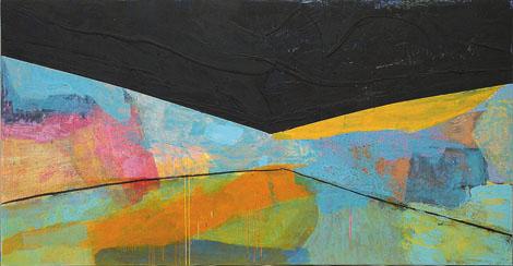 Oceanik, mešana tehnika na platno, 210x125 cm, 2001.