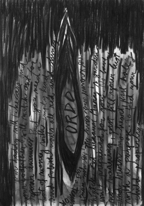 Ordo I., charcoal on paper, 100x 80 cm, 2005.