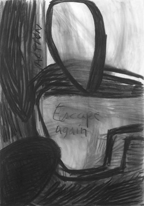 Escape again, charcoal on paper, 100x80 cm, 2005.