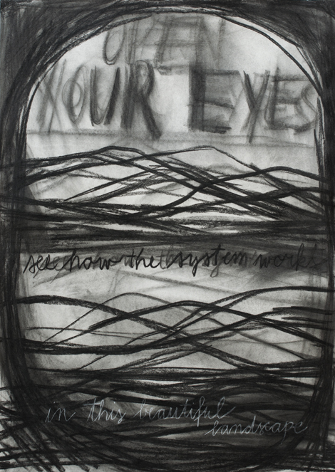 Open you eyes, charcoal on paper, 100x80 cm, 2013.