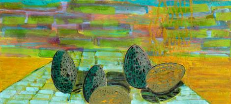 Prepeličje gnezdo, mešana teh.platno, 90x 190 cm, 2010.