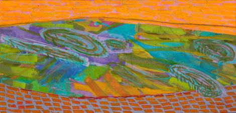 Ribje oko, mešana teh. na platno, 90x200 cm, 2010.