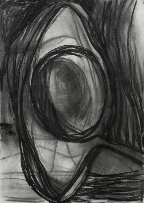 Čas je naš gospodar, oglje na papir, 100x80 cm, 2013.