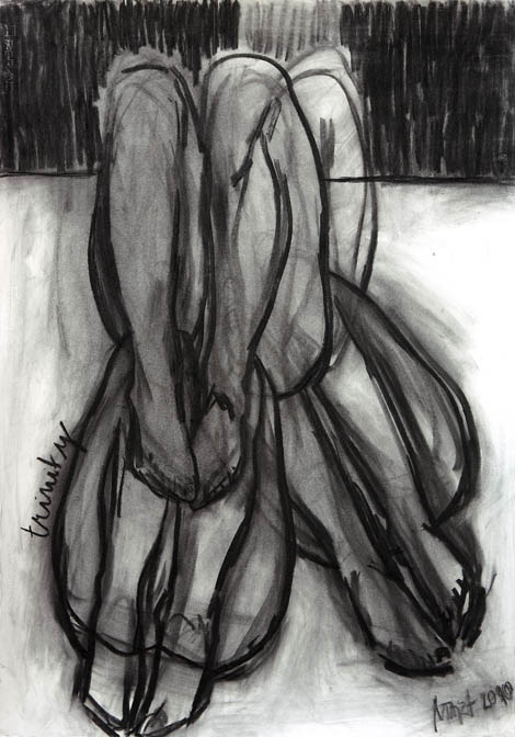 Trinity, charcoal on paper, 100x80 cm, 2010.