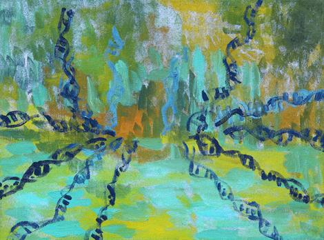 DNA krajina, olje na platno, 40x35 cm, 2012.