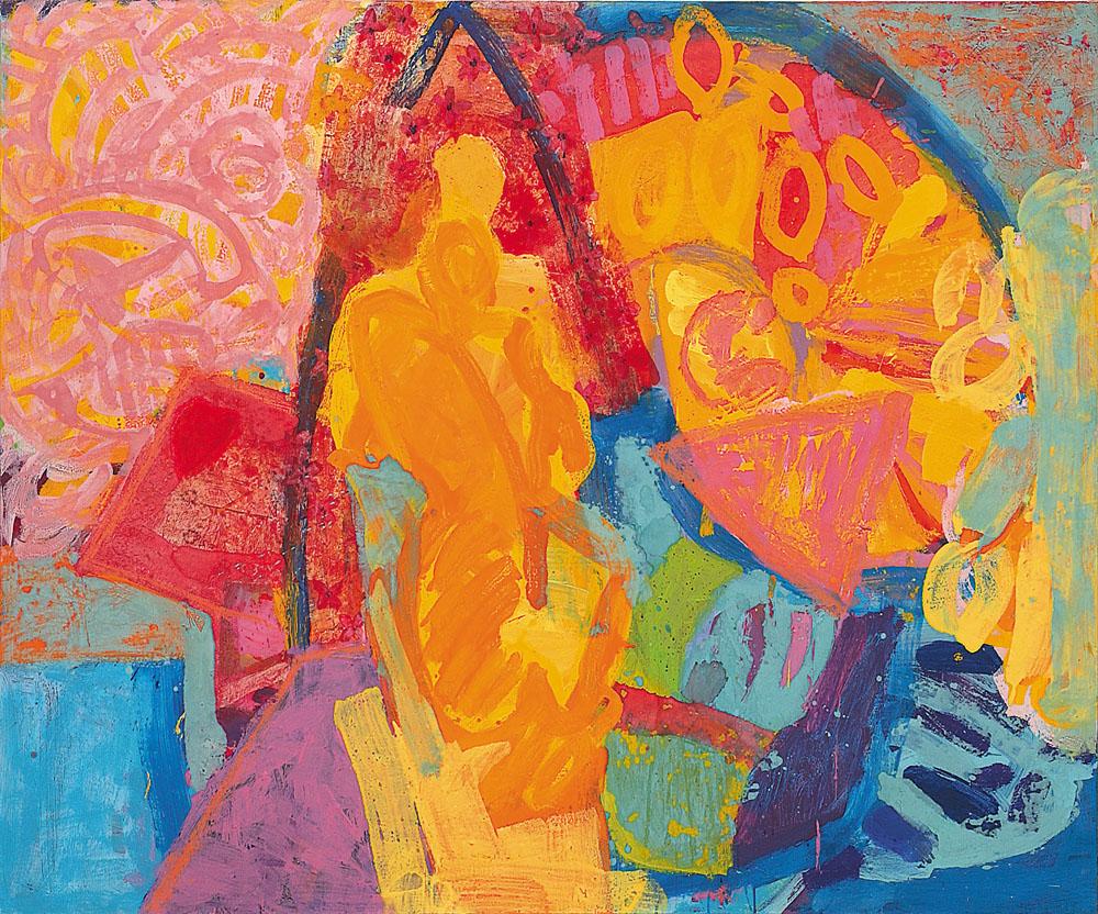 Life with an artist, Hommage za Frido Kahlo, mešana tehnika na platno, 125x150 cm, 2000.