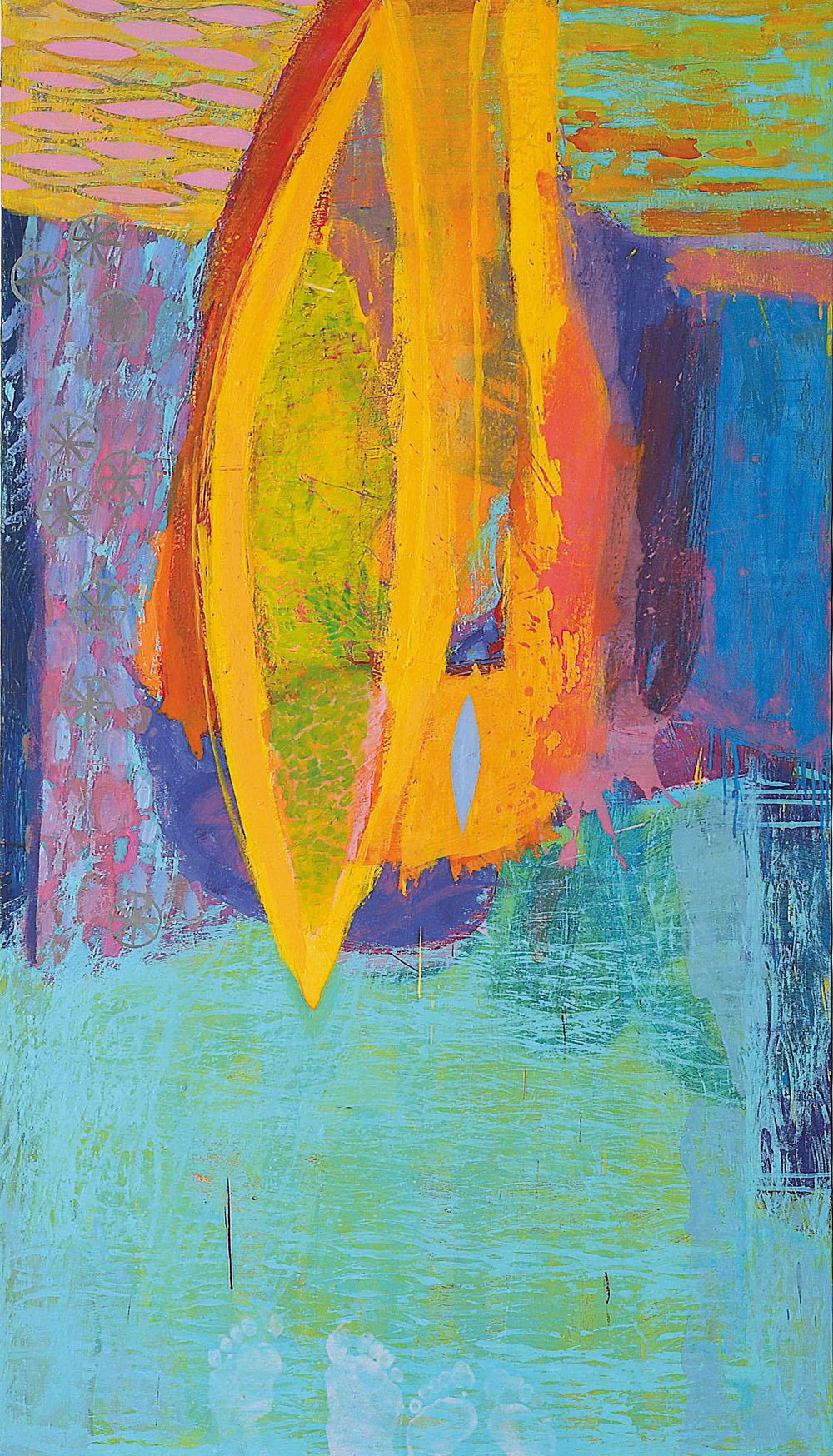 Life with an artist and my heart is broken, mešana tehnika na platno, 100x175 cm, 2001. (uničena)