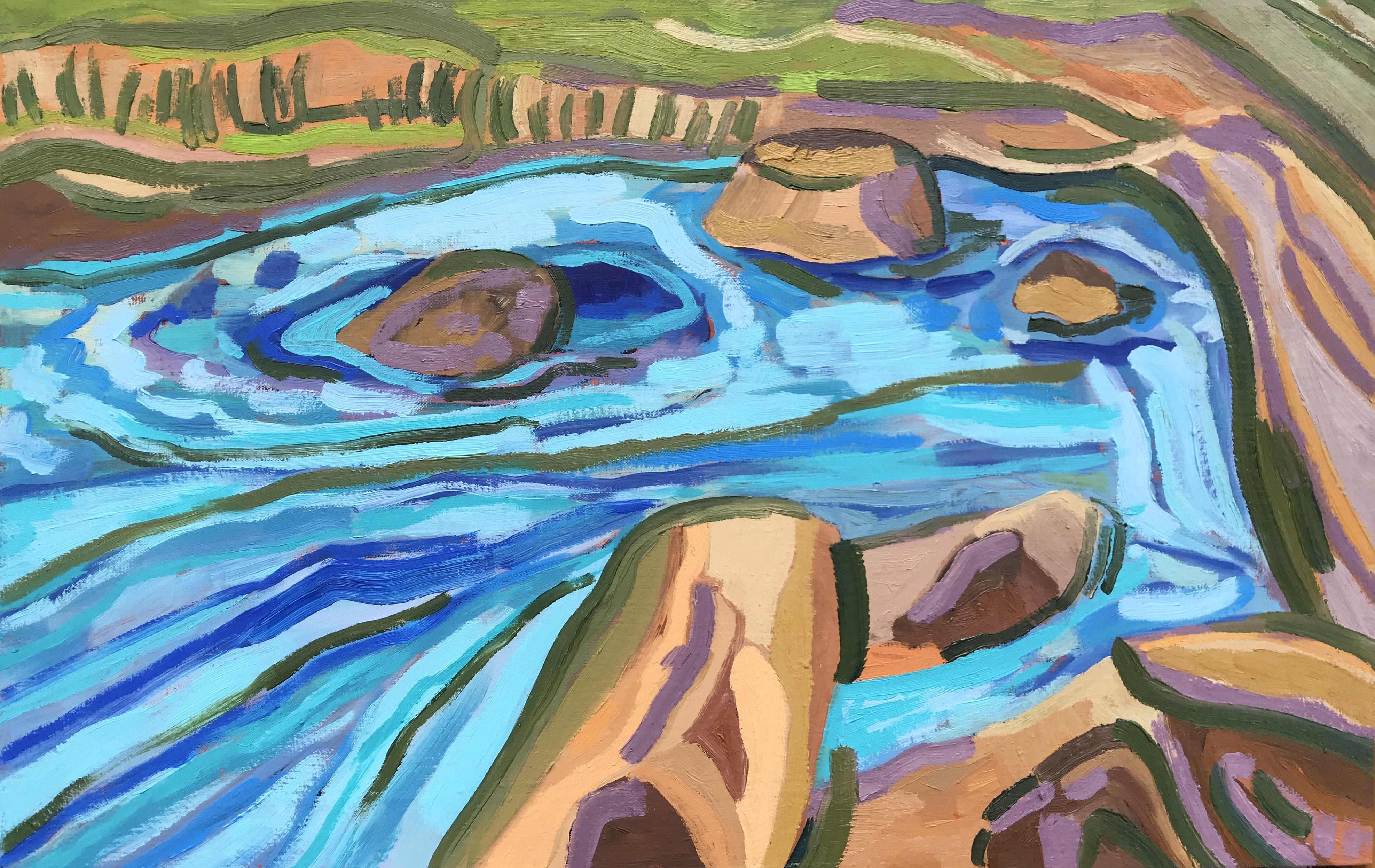 Jezero, 2021, mešana tehnika na platno, 45 x 70 cm
